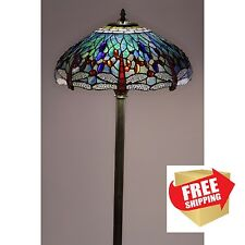 Dragonfly Floor Lamp Tiffany Style Handcrafted Antique Stained Glass Shade Stand