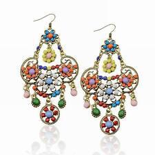 Stunning Multi-Color Copper Flower Acrylic Beads Fringe Cluster  Earrings