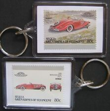 1936 MERCEDES BENZ 540K Car Stamp Keyring (Auto 100 Automobile)