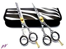 "Professional Hairdressing Haircutting 5.5"" Scissor GIFT Set + POUCH ZEBRA DESIGN"