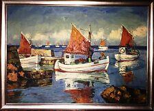 Mogens Ege 1892-1946 Bornholm-Maler + großes prächtiges Öl+Kutter im Hafen