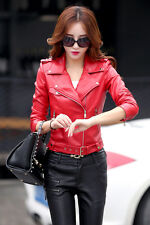 Women Leather Jacket With Buckle Hem Lady Faux Leather Coat Biker Jacket Outfit