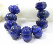 9 RARE NATURAL LARGE BLUE LAPIS LAZULI MELON CARVED BEADS from AFGHAN 14-16mm