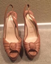 Christian Louboutin Miss Benin Leather Slingback Pumps Nude Size 38