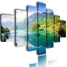 HUGE EXTRA LARGE CANVAS PICTURES WALL ART GREEN SPLIT NATURE MULTI PANEL 80""