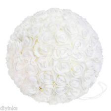 "18"" Kissing Ball Wedding Decoration Rose Pomander Ivory Flower Petal Centerpiece"