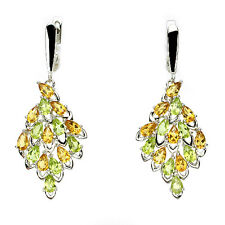 Silver 925 Large Genuine Natural Citrine and Peridot Pear Cluster Earrings