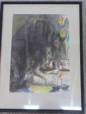 Old Watercolor Painting Woman Reading To Child Signed SC 58