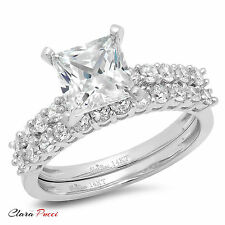 2.71CT Sim Princess Cut Wedding Engagement Bridal Ring band set 14k White Gold