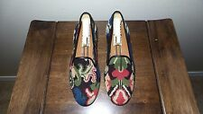"CUTE $450 Stubbs and Wootton Needlepoint & Leather ""FLORAL"" Slippers Loafer Shoe"