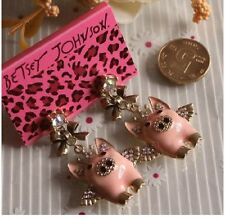 "E293 BETSEY JOHNSON FLYING PIGGY ""Pigs Might Fly"" w/ Ribbon Dangling Earrings AU"