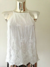 New Look White Frill Crochet Embroidered Floral Summer Cami Vest Top UK 6 8 10