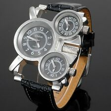 Russian RARE Man Military Aircraft Mens Watch Leather Band 3 Timezone EST PST