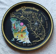 Vintage Round Metal Tray - WALT DISNEY WORLD FLORIDA Map on Black Background