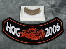 NEW 2006 HOG VEST ROCKER PATCH AND PIN HARLEY-DAVIDSON OWNERS GROUP HD