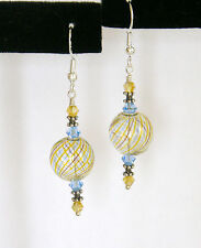 BLUE & TOPAZ HAND BLOWN GLASS STERLING SILVER Earrings w/SWAROVSKI CRYSTALS