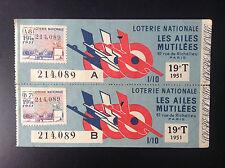 Lot de 2 Billets Loterie nationale 1951 Les ailes Mutilées