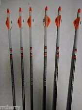 6- EASTON POWER FLIGHT 400 Carbon Arrows Dip/Crest Orange & White Blazer vanes