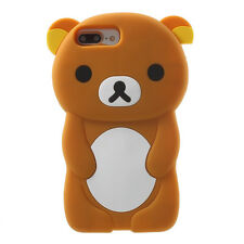 For iPhone 7+ PLUS - Soft Silicone Rubber Skin Case Cover 3D Brown Teddy Bear