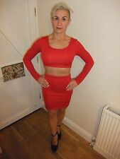 BNWT ~ MISSGUIDED ~ RED STRETCH MINI SKIRT & TOP JOINED WITH REAR  ZIP ~ UK 10