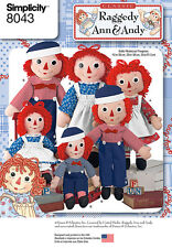 "Simplicity 8043 Sewing Pattern Raggedy Ann & Andy Doll and Clothes 15"",26"",36"""