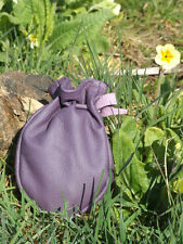 LEATHER DRAWSTRING POUCH BUSHCRAFT SURVIVAL MONEY PURSE FISHING PURPLE  BAG L