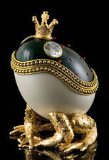 AUTHENTIC DECORATED GOOSE EGG ~MY PRINCE WILL COME ~ FROG ~ MUSICAL  #30581
