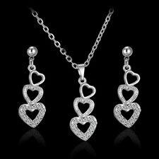 A-OK Women Jewelry Set Silver Wedding Necklace Earrings Three Hearts Crystal
