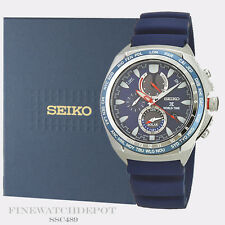 Authentic Seiko Men's Solar Prospex Chronograph Blue Rubber Watch SSC489