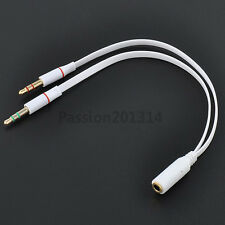 3.5mm 2 Male Plug to 1 Female Jack Audio Stereo Headset Mic Splitter Cable