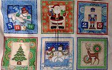 Dan Morris Christmas Fabric Panel.  100% cotton,six blocks snowmen and santa