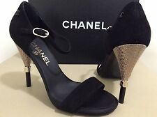 NIB 16B Chanel Black Suede Cc Logo Gold Heel Sandals Pumps. Sz 37.Org.$900