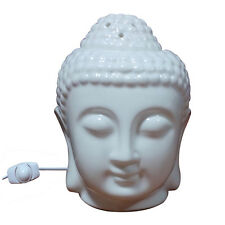 WHITE Ceramic Buddha Head Fragrance ELECTRIC Oil Warmer Lamp / AROMA DIFFUSER
