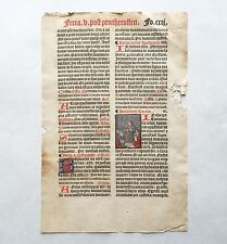 Antique Illuminated Breviary Leaf, Late 15th Century German