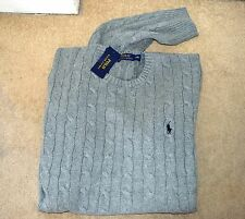 BNWT NEW RALPH LAUREN GREY MENS CABLE KNIT SWEATER JUMPER SIZE XXL WITH BOX