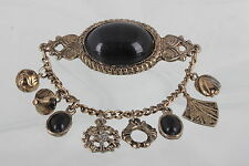 COSTUME ANTIQUE BLACK ONYX STONES DANGLY CHAIN W/ CHARMS BROOCH FASHION 9780