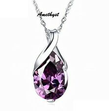 "SILVER Angel Teardrop Pendant Necklace 18"" Chain Amethyst Purple Heart Gift Box"