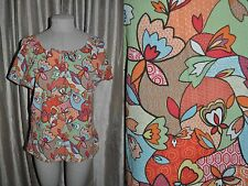 COLUMBIA Women's sz XL Retro Floral Peasant Top ~ Gauze Cotton ~ Boho Hippie