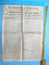 02/10/1911 IL GIORNALE D'ITALIA - Bombardamento a Tripoli sarà ritardato - 284