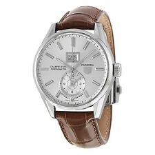 Tag Heuer Carrera Calibre 8 Automatic Silver Dial Brown Leather Mens Watch