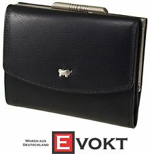 Braun Buffel Wallet 92221-051 Black Leather Trifold Coin Compartment Genuine New