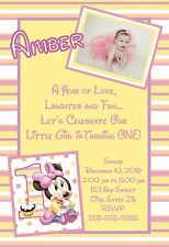 Disney Baby Minnie Mouse First 1st Birthday Invitations Pink 8 pk Personalized