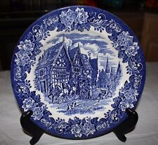 "Vtg English Ironstone Tableware Blue Dickens  9.5"" Dinner Plate"