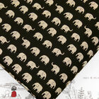 FQ LITTLE LIGHT BROWN ELEPHANT on BLACK JAPANESE 100% Cotton Fabric Quilting J73