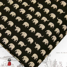 Fq little light brown elephant sur noir japonais 100% coton tissu quilting J73