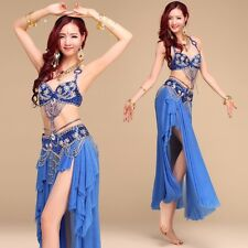 Professional Belly Dance Costume Beaded sets 2pcs set Bra Top+ Belt SML 32A- 38C