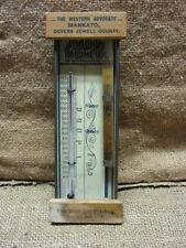 RARE Vintage Jewell County Thermometer & Barometer   Wood Metal Old Antique 7171