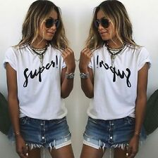 Sexy Women Summer T Shirt Letter Printed Short Sleeve Casual Shirt Blouse Tee