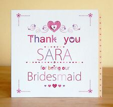 Flower Girl, Bridesmaid, Maid of Honour Thank you card. Personalised wedding
