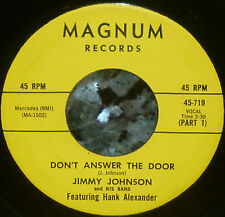 """* * 1965 #16 BLUES HIT """"DON'T ANSWER THE DOOR"""": JIMMY JOHNSON CLEAN VG+/M- 45!"""